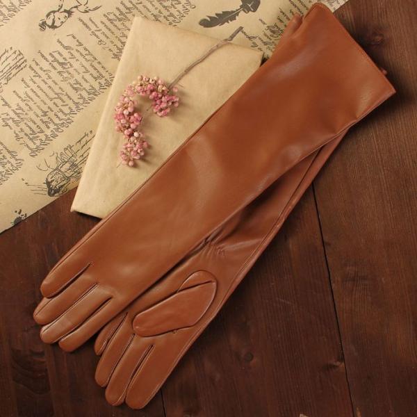 Перчатки женские, длинные, размер 7.5, с подкладом, цвет рыжий