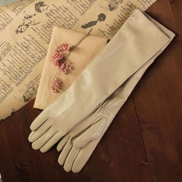 Перчатки женские, длинные, размер 7.5, с подкладом, цвет бежевый