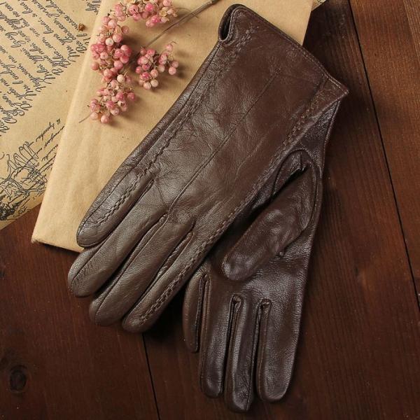 Перчатки женские, размер 6.5, с подкладом, цвет коричневый