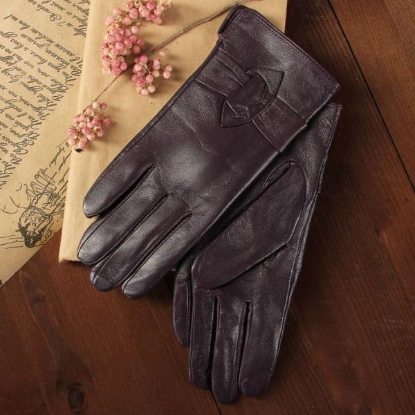 Перчатки женские, размер 7.5, с подкладом, цвет фиолетовый