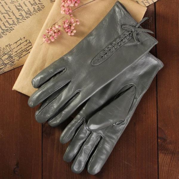 Перчатки женские, размер 6.5, с подкладом, цвет серый