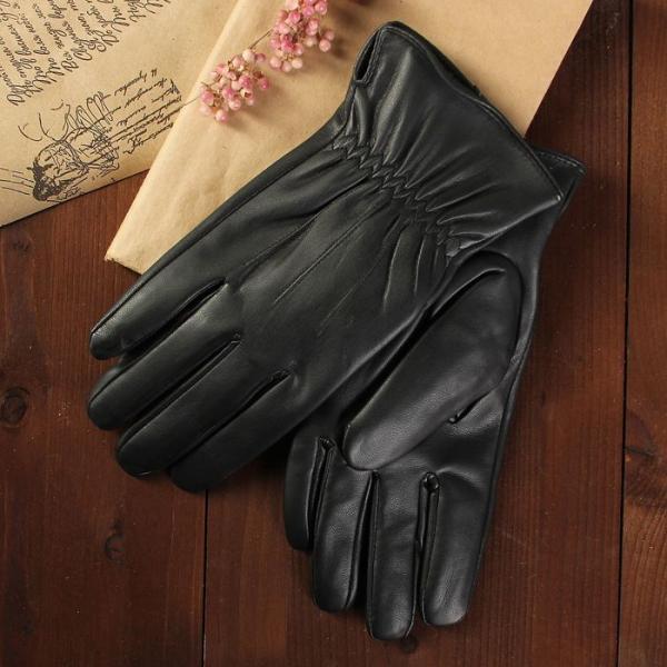 Перчатки мужские, размер 10.5, с подкладом, цвет чёрный