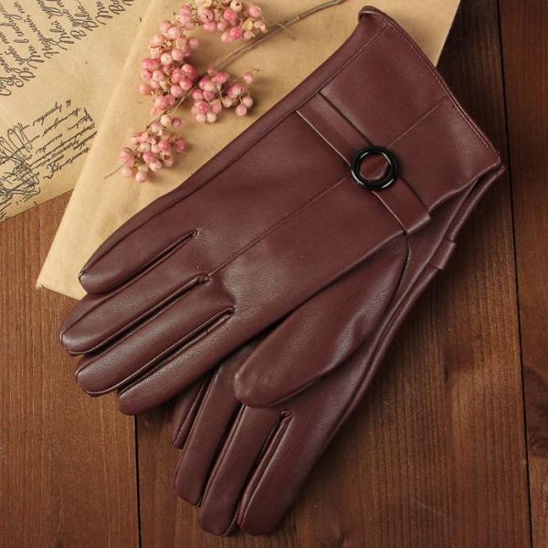 Перчатки женские, пряжка, размер 7, с подкладом, цвет бордовый