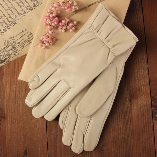Перчатки женские, размер 7.5, с подкладом, цвет бежевый