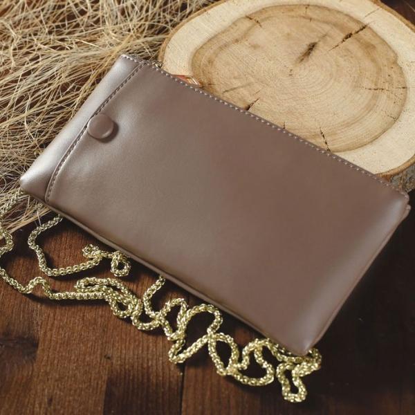 Клатч женский, отдел на молнии, для карт, наружный карман для телефона, длинная цепь, цвет хаки