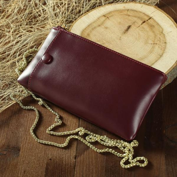 Клатч женский, отдел, для карт, наружный карман для телефона, длинная цепь, цвет бордовый