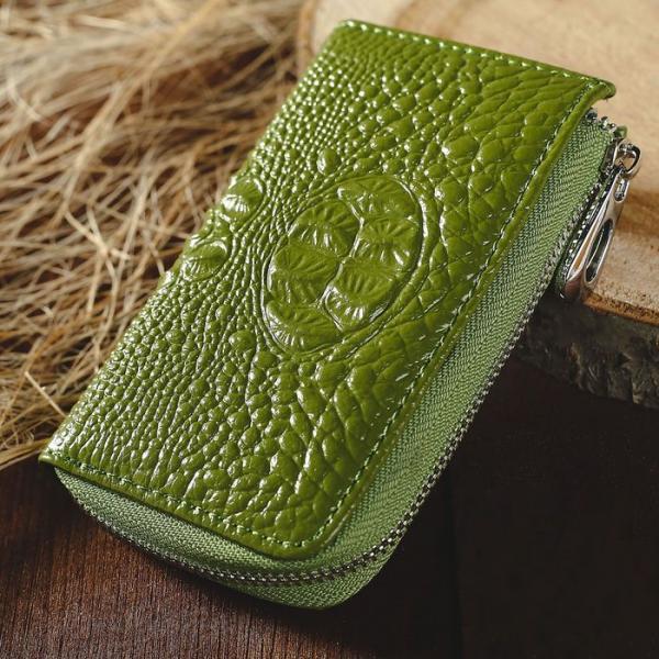 Ключница на молнии, 1 отдел, карман для карт, кольцо, карабины, цвет зелёный