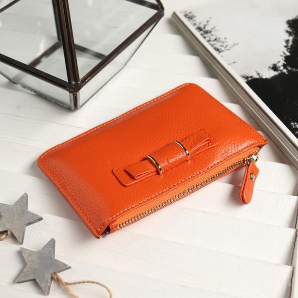 Ключница Бант, 14,5*1*9, 1 отд на молнии, с кольцом, оранжевый
