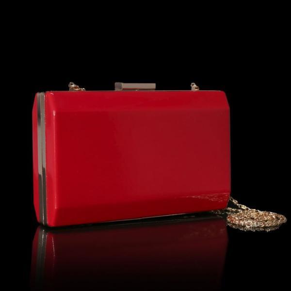 Клатч женский, отдел на рамке, длинная цепь, цвет красный