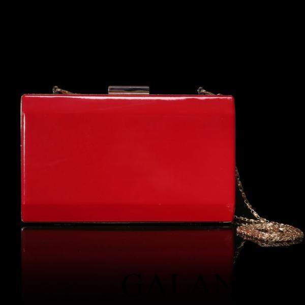 Фото Сумки, Женские сумки, Клатчи Клатч женский, отдел на рамке, длинная цепь, цвет красный