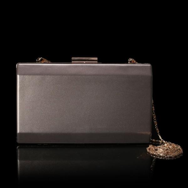 Клатч женский, отдел на рамке, длинная цепь, цвет серый перламутр