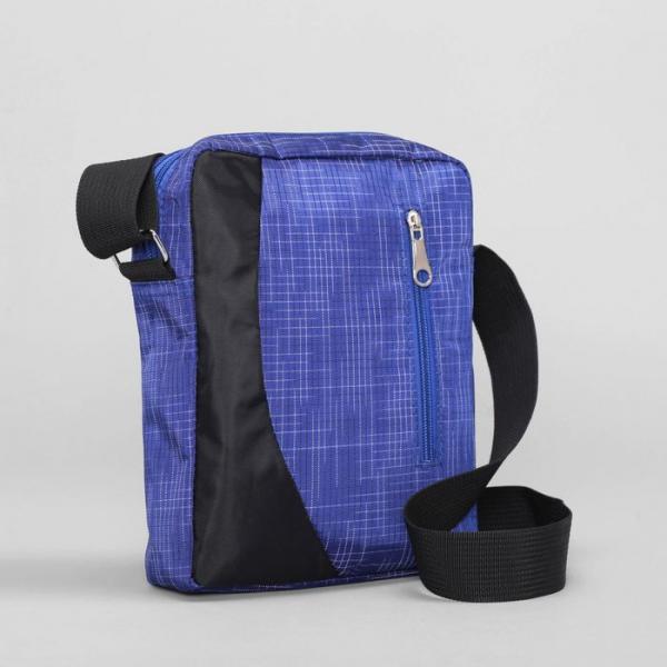 Сумка молодёжная, 1 отдел, 2 наружных кармана, регулируемый ремень, цвет синий