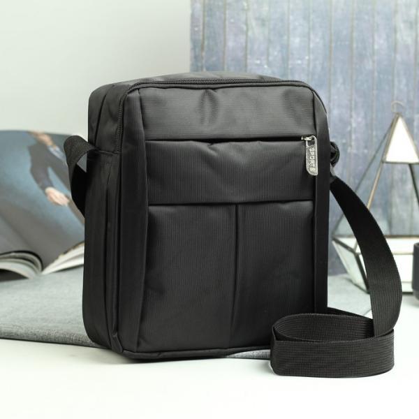 Планшет мужской, 2 наружных кармана, регулируемый ремень, цвет чёрный