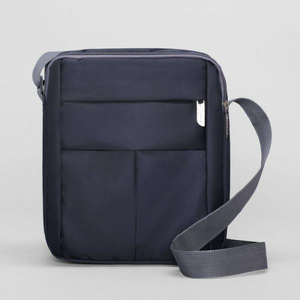 Планшет мужской, 2 наружных кармана, регулируемый ремень, цвет синий