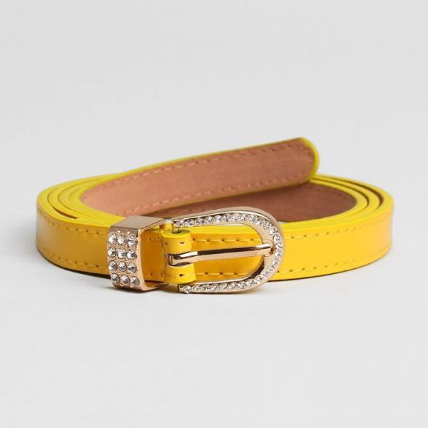 Ремень женский, гладкий, ширина - 1,5 см, пряжка золото, цвет жёлтый
