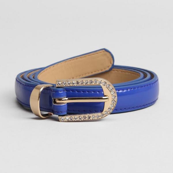 Ремень женский, гладкий, ширина - 2 см, пряжка золото, цвет синий