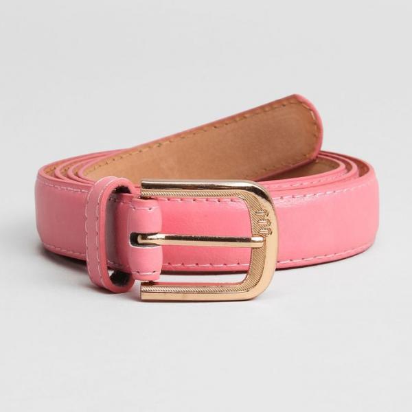 Ремень женский, гладкий, ширина - 2,5 см, пряжка золото, цвет розовый