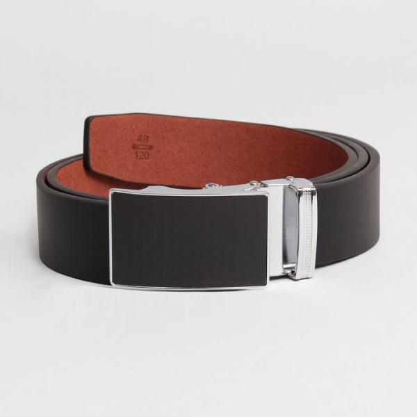 Ремень мужской, пряжка зажим металл, ширина - 3,5 см, цвет чёрный гладкий