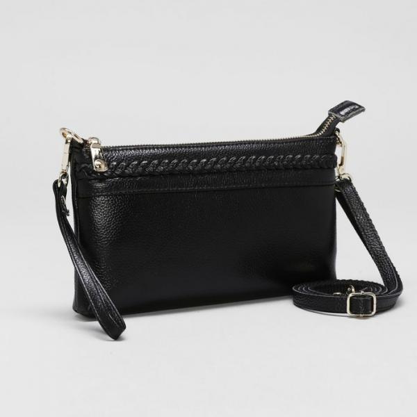 Клатч женский, отдел на молнии с перегородкой, с ручкой, наружный карман, длинный ремень, цвет чёрный