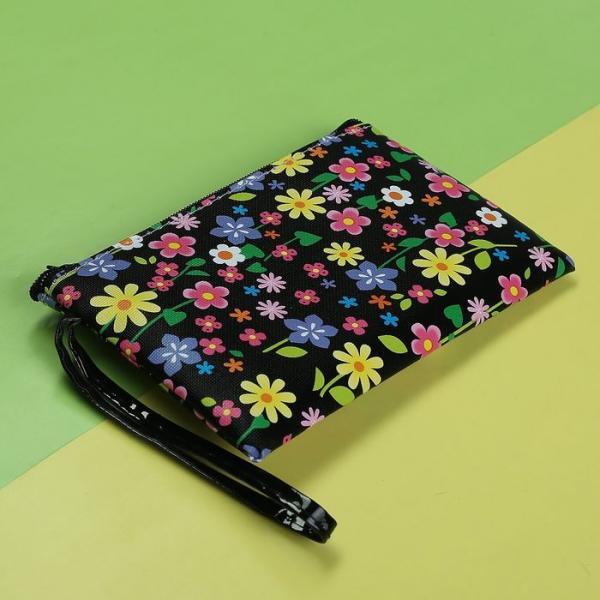 """Кошелёк детский """"Цветы"""", 1 отдел на молнии, с ручкой, цвет чёрный"""