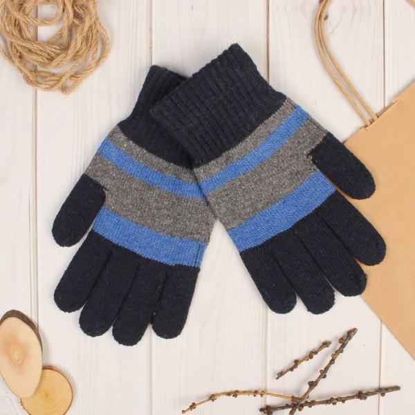 Перчатки шерстяные мужские «Креон», размер 10, цвет серый/синий