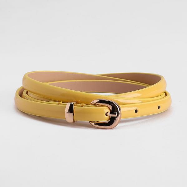Ремень женский, гладкий, пряжка хомут золото, ширина - 0,8 см, цвет жёлтый