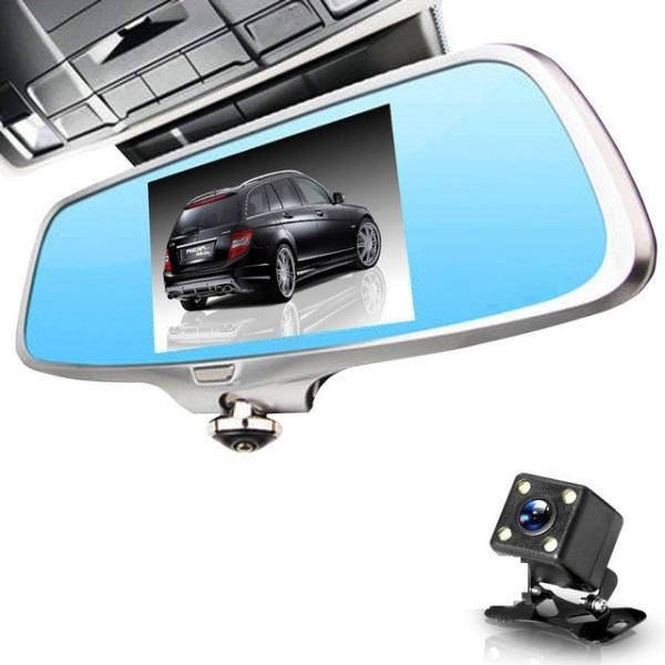 """Регистратор-зеркало А66 5"""" камера 360 градусов + камера заднего вида + сенсорный экран"""
