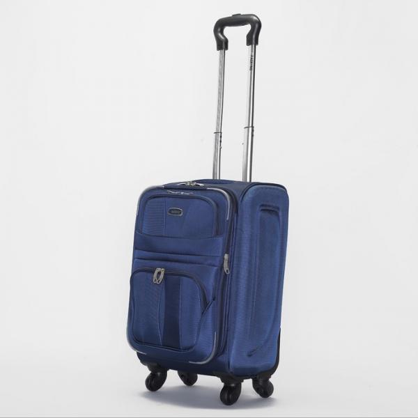"""Чемодан малый 20"""", 2 отдела на молниях, 2 наружных кармана, 4 колеса, цвет синий"""