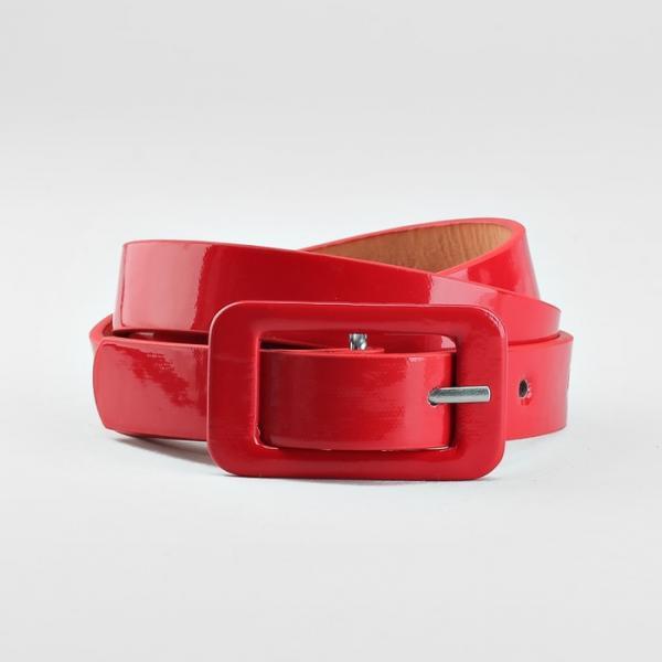 Ремень детский, гладкий, ширина - 1,8 см, пряжка в цвет ремня, цвет красный