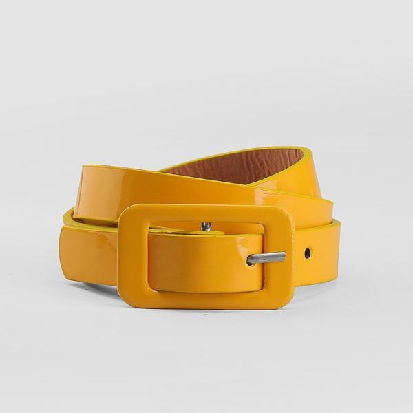 Ремень детский, гладкий, ширина - 1,8 см, пряжка в цвет ремня, цвет жёлтый