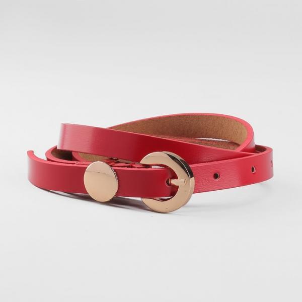 Ремень женский, пряжка и хомут золото, ширина - 1,5 см, цвет красный
