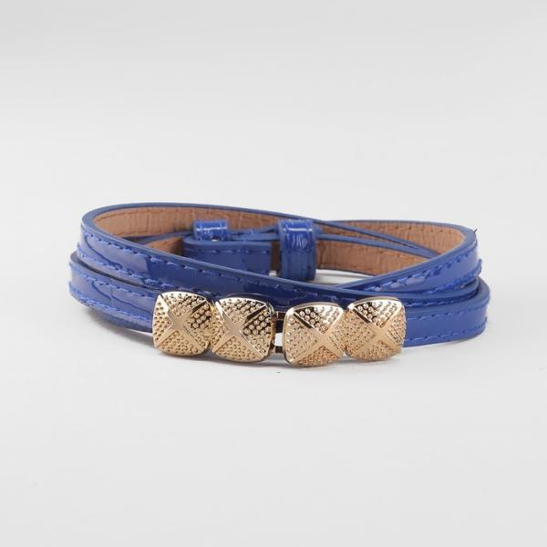 Ремень женский, пряжка золото, ширина - 1 см, цвет синий