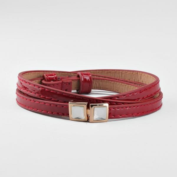 Ремень женский, пряжка золото, ширина - 1 см, цвет красный