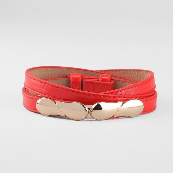 Ремень женский, пряжка золото, ширина - 1,3 см, цвет красный