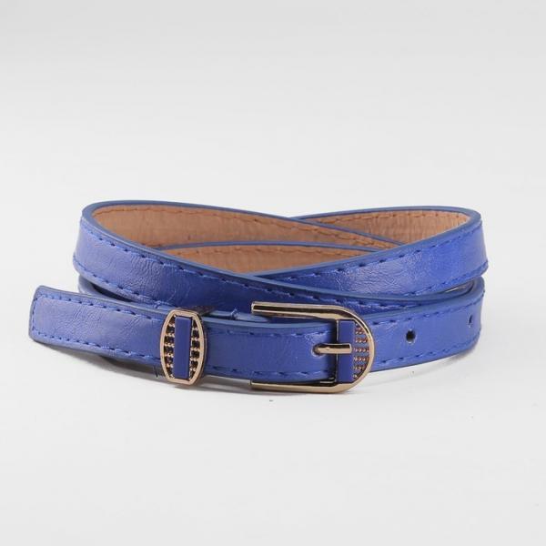 Ремень женский, пряжка и хомут золото, ширина - 1,3 см, цвет синий