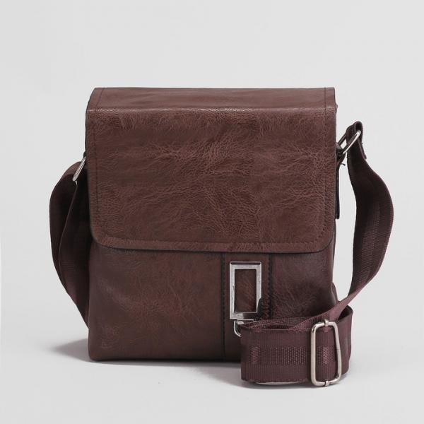 Планшет мужской, 1 отдел, 2 наружных кармана, длинный ремень, цвет коричневый