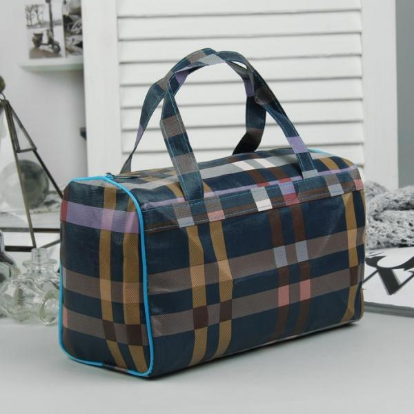 Косметичка-сумочка, отдел на молнии, ручки, цвет синий/коричневый