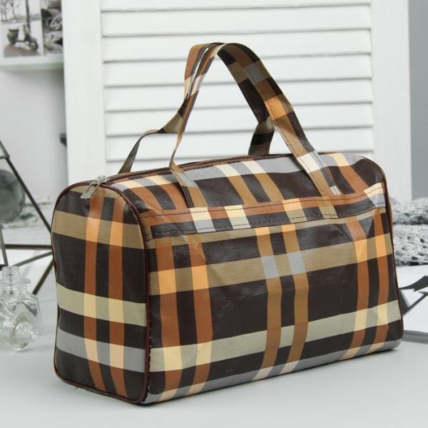 Косметичка-сумочка, отдел на молнии, ручки, цвет коричневый/жёлтый