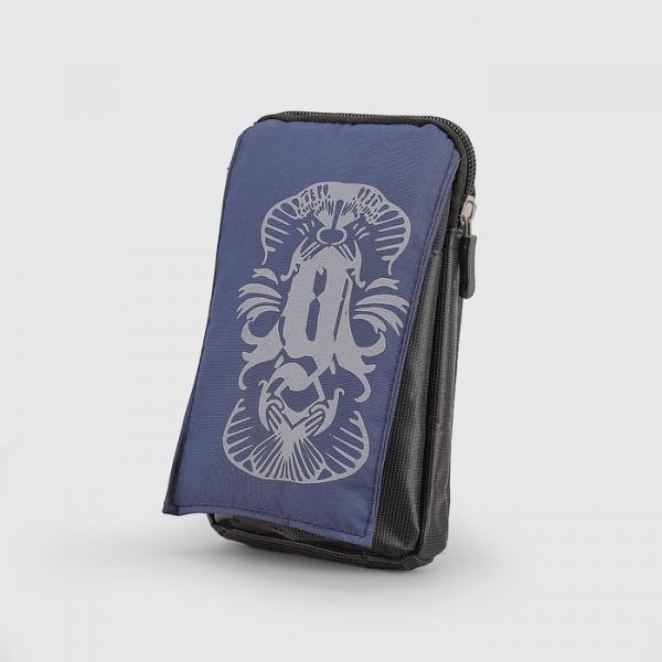Сумка поясная, отдел на молнии, 2 наружных кармана, с карабином, цвет синий