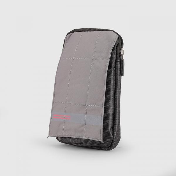 Сумка поясная, отдел на молнии, 2 наружных кармана, с карабином, цвет серый