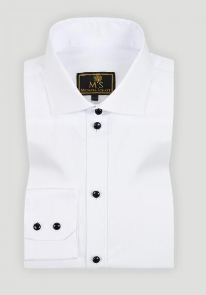 Рубашка мужская Michael Schaft Белая с черными пуговицами Slim Fit