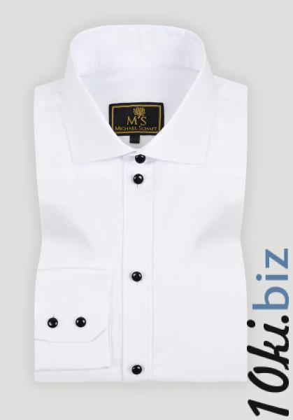 Рубашка мужская Michael Schaft Белая с черными пуговицами Slim Fit, цена фото купить в Киеве. Раздел Мужские рубашки