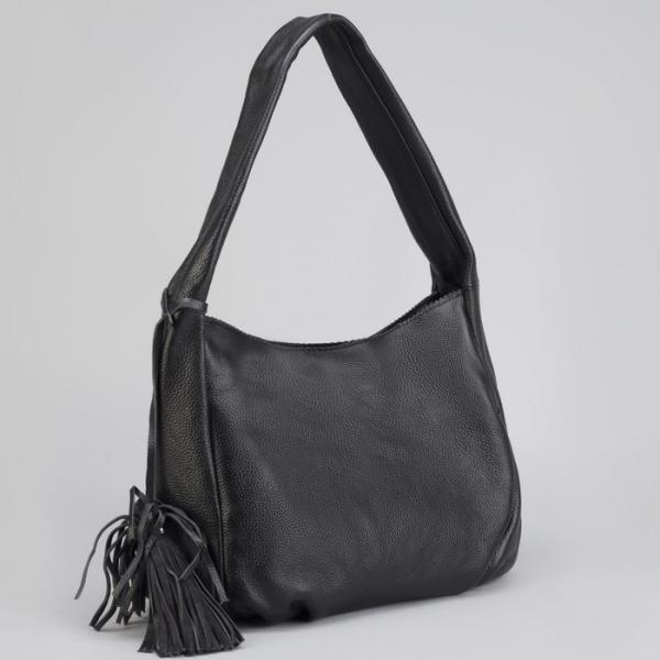 Сумка женская на молнии, отдел с перегородкой, наружный карман, цвет чёрный