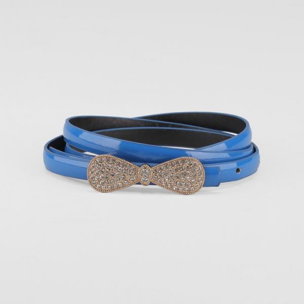 Ремень женский, на гвоздике, ширина 0.8 см, гладкий, пряжка под золото, стразы, цвет синий