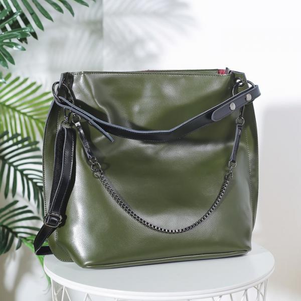 Сумка женская на молнии, отдел с перегородкой, наружный карман, длинный ремень, с кошельком, цвет зелёный