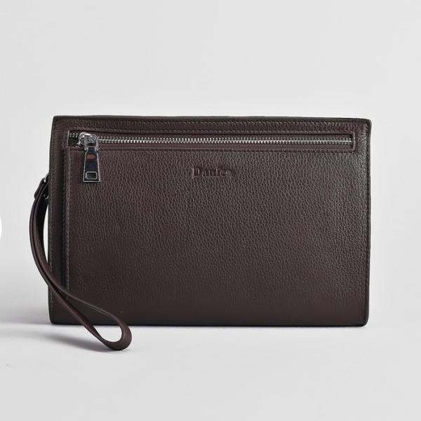 Клатч мужской, отдел на молнии, наружный карман, с ручкой, цвет коричневый
