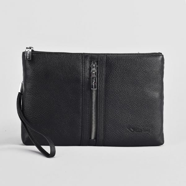 Клатч мужской, 3 отдела, 2 наружных кармана, с ручкой, цвет чёрный