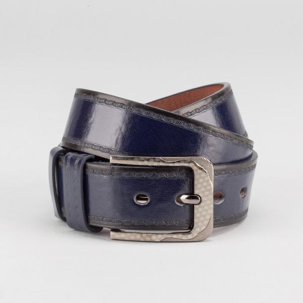 Ремень мужской, пряжка тёмный металл, ширина - 4 см, цвет синий