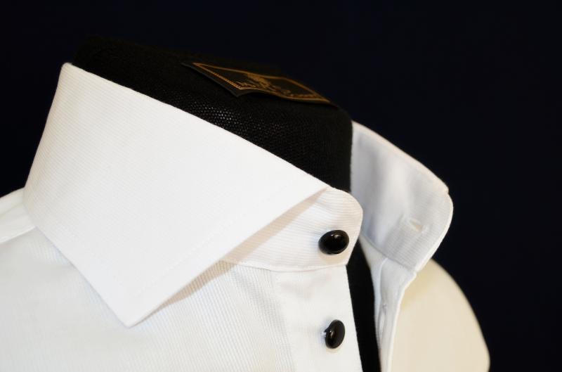 Фото Мужские рубашки Рубашка мужская Michael Schaft Белая с черными пуговицами Slim Fit