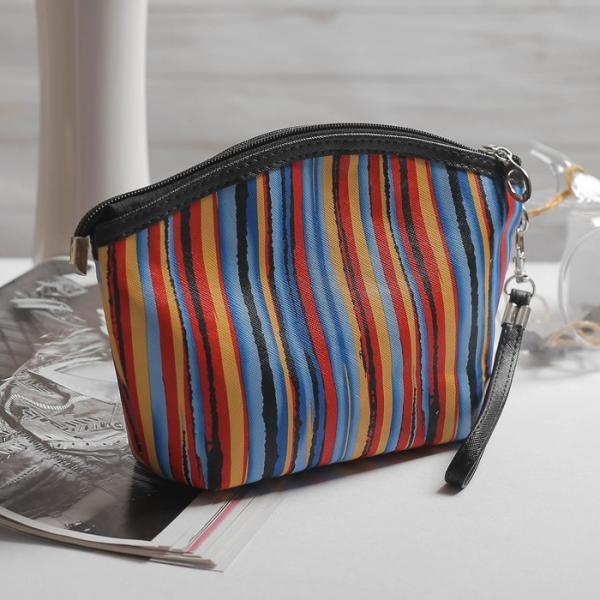 Косметичка-сумочка, отдел на молнии, с ручкой, цвет красный/синий